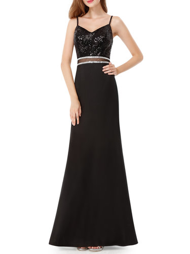 Black Spaghetti Paneled Backless Evening Dress