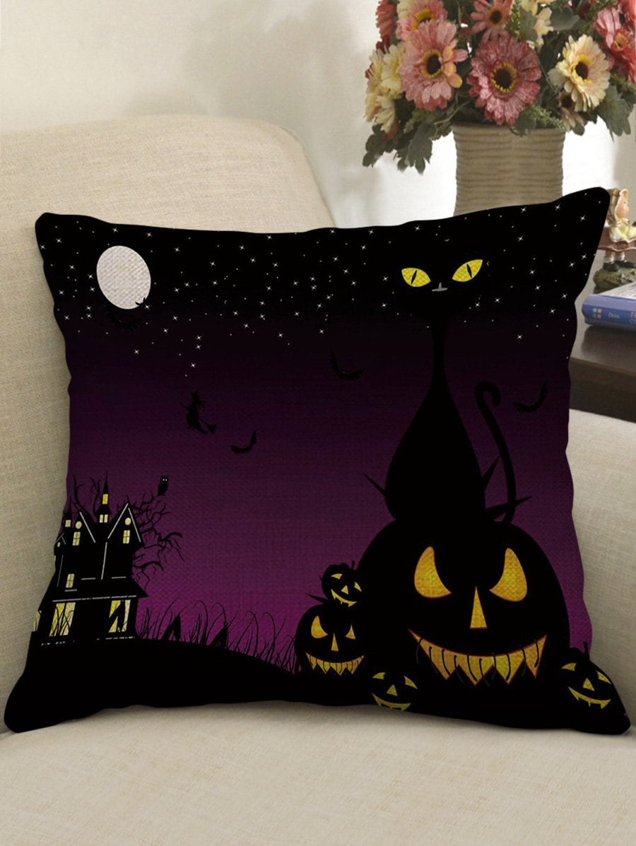 Halloween Moon Night Print Decorative Linen Sofa Pillowcase