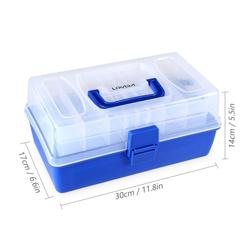 Lixada 3 Layers Waterproof Fishing Tackle Box Fishing Hooks Lures Baits Storage Case