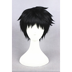 Synthetic Wig Cosplay Wig Straight Straight Wig Short Natural Black Synthetic Hair Men's Black