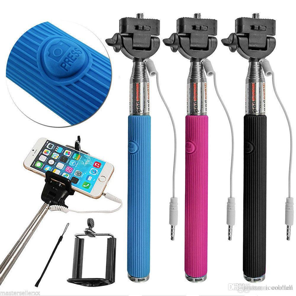 Freeshipping 2015new Wire Extendable Self Selfie Stick Handheld Monopod +clip Holder+bluetooth Camera Shutter Remote Controller