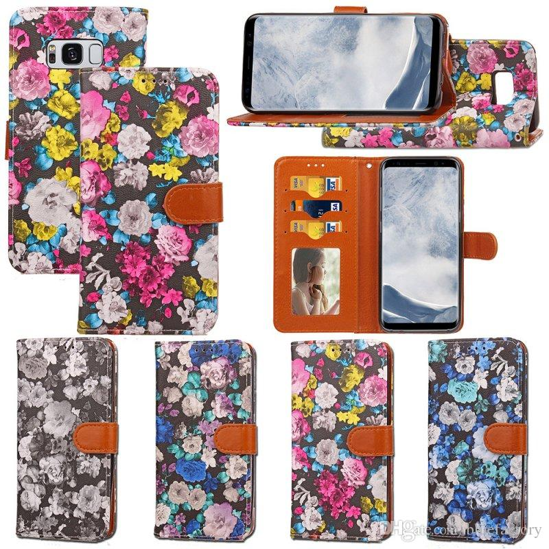 For iphone X 8 plus New Fashion Print Flower Design Wallet Case With Stand Holder Back Cover For iphone 7 6 plus Samsung S8 S8 Plus