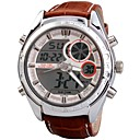 Men's Leather Band Dual Calendar Dual Time Zones Multifunction Wrist Watch 30m Waterproof (Assorted Colors)