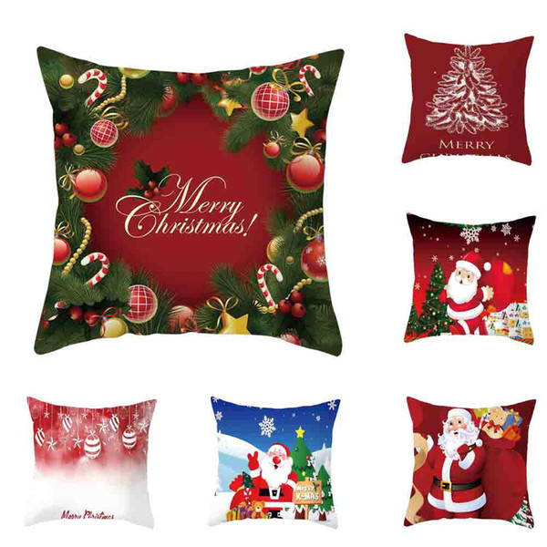 merry christmas home decorative cushion cover super soft square pillowcase car sofa throw pillow pillow cover 45x45cm home decor