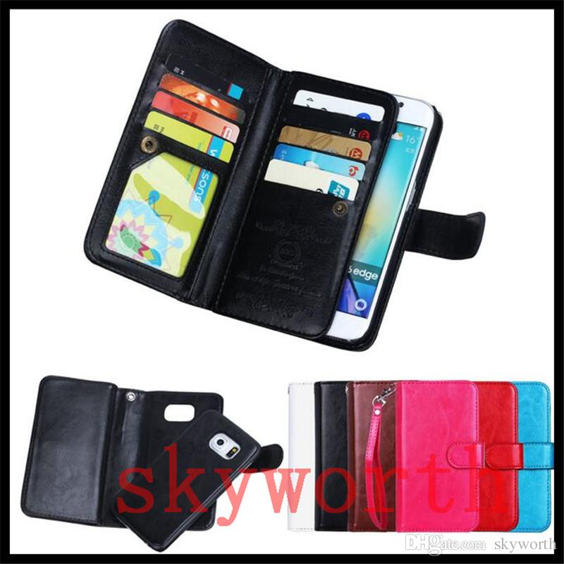 For iphone X XS XR Max 8 Plus Samsung Galaxy Note 9 S9 S10 Plus Wallet Leather Case Magnetic Detachable 9 Card Slots