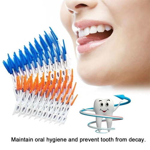 80Pcs/Box Dental Floss Interdental Brush Teeth Stick Toothpick Soft Silicone Tooth Picks Oral Cleaning Care