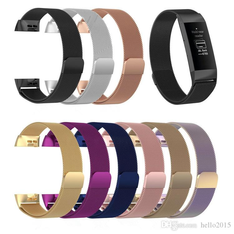 Stainless Steel Fitness Magnetic Milanese Loop Band for Fitbit Charge3 Replacement Wristband Strap for Fitbit Charge 3 Watchband
