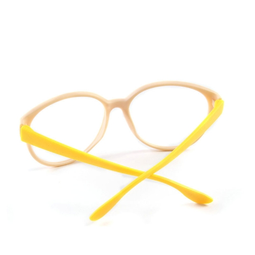 Fashion Unisex Women Men Glasses Frame No Lens Eyeglasses Eyewear Nerd Beige + Yellow