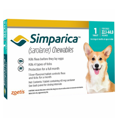 Simparica Chewable Tablet For Dogs 22.1-44 Lbs (Blue) 6 Pack