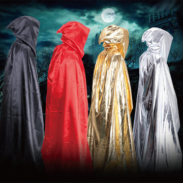 Halloween Shining Loose Sorcerer Cosplay Cloak Satin Hooded Robe Costumes
