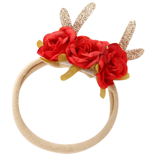 6pcs Christmas Baby Antlers Floral Crown Headband Baby Girls Rose Flower Buck Horn Hairband