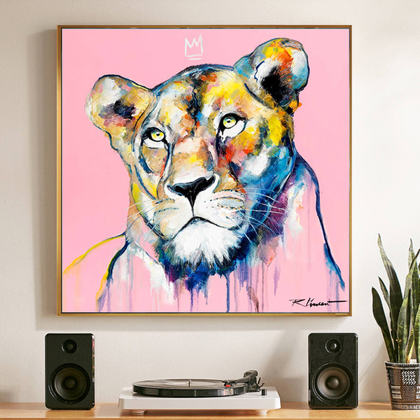 canvas art colorful lion oil paintings printed on canvas for bedroom pink print modern art animal decorative pictures