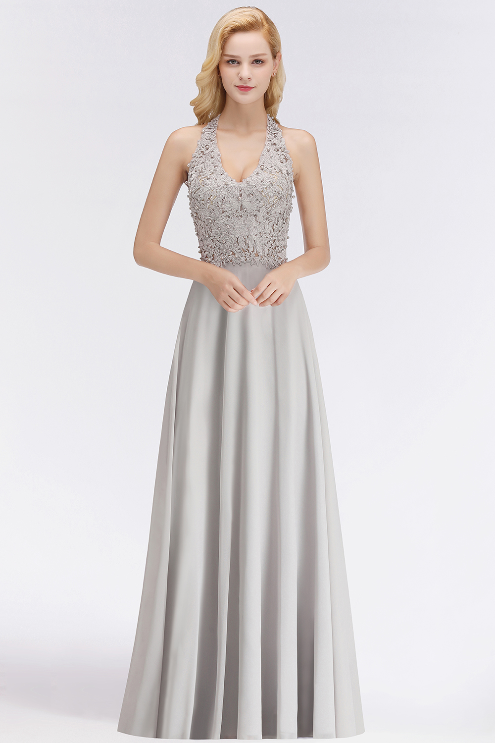 Halter Composite Emulation Blush Bridesmaid Dresses Long