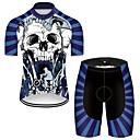 21Grams Men's Short Sleeve Cycling Jersey with Shorts Blue / White Skull Bike Breathable Sports Patterned Mountain Bike MTB Road Bike Cycling Clothing Apparel / Stretchy