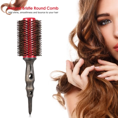 14mm Round Brush Natural Bristle Roller Comb With Non-slip Wood Handle Aluminum Round Comb for Hair Styling