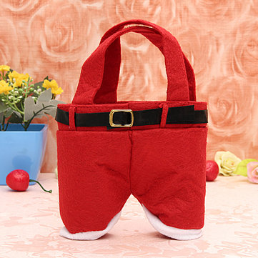Unique Styling Red Nylon Santa Pants Candy Bags Storage Bags