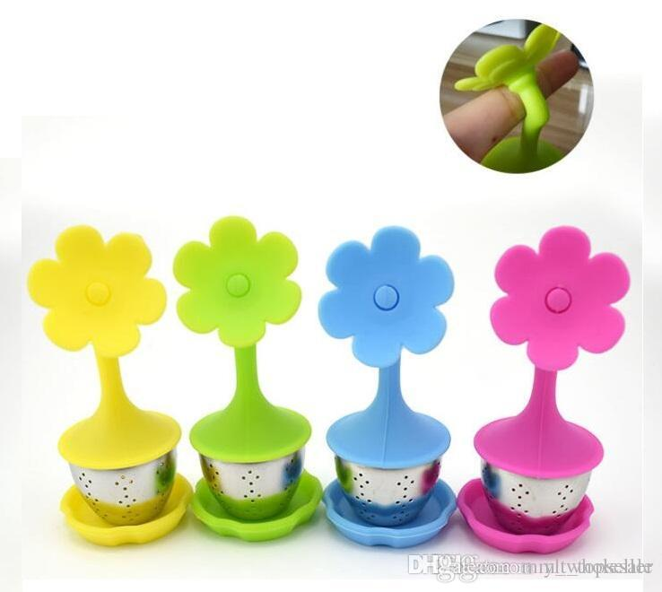 Creative Silicone Tea Infuser Flowers Shape Silicon Teacup with Food Grade Make Tea Bag Filter Stainless Steel Strainers Tea Leaf Diffuser