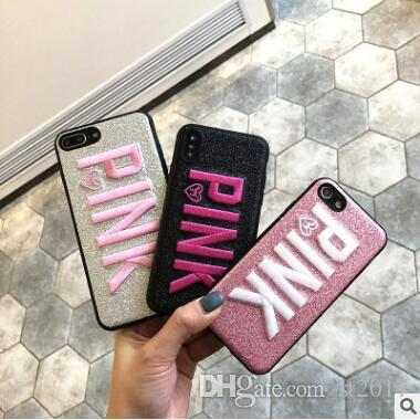2019 Love Pink Cell Phone Case Glitter 3D Embroidery Soft TPU Letter Cover For iPhone X XS MAX XR 8 7 Plus 6 Samsung S9 S10 S10e plus note 9