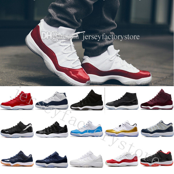 11 space jam bred gamma blue basketball shoes men women 11s concords 72-10 legend blue cool grey sneakers with shoes box