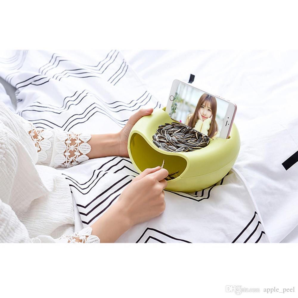 Snack Bowl Double Dish Nut Bowl with Cellphone Holder Slot Serving for Pistachio Sunflower Seeds Peanuts Edamame