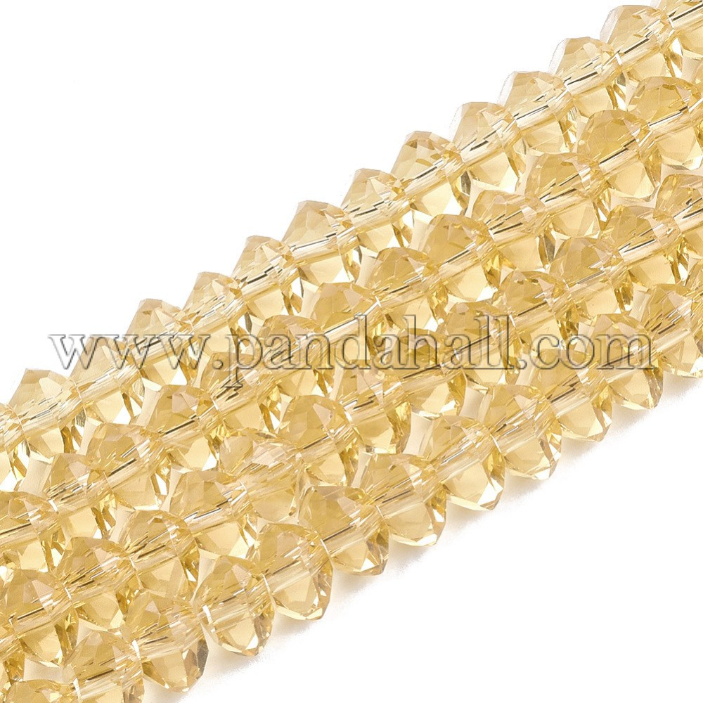 Glass Beads Strands, Faceted, Triangle, Gold, 5.5~6x5.5~6x3~4mm, Hole: 1.5mm; about 100pcs/strand, 13.9