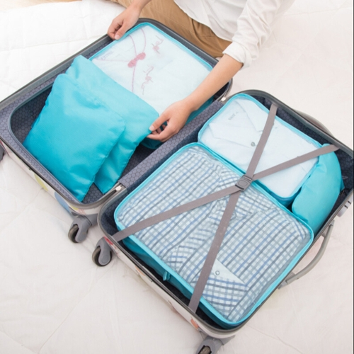 6pcs/set Lightweight Luggage Travel Bags Men and Women Packing Cubes Organizer Compression Pouches  Fashion Double Zipper Waterproof Polyester Bag Suitcase (light blue)